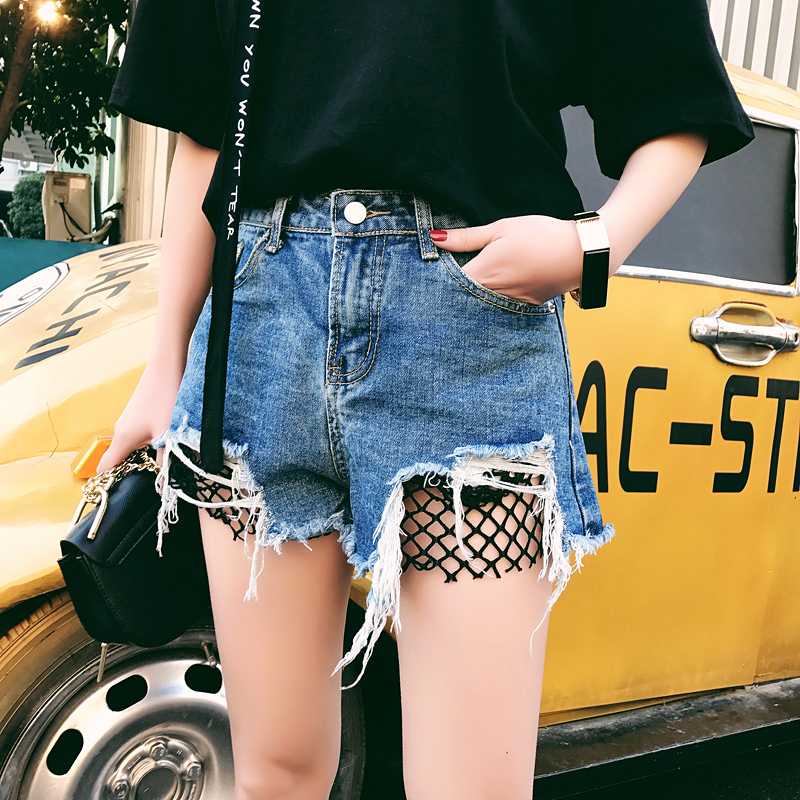 2017 summer worn burr high waist hole denim   shorts   women mesh stitching casual jeans   shorts   girl hot   shorts