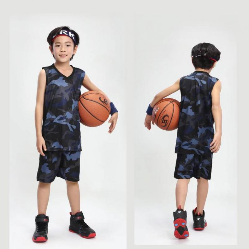 Junior Basketball Suits Custom Camouflage Childrens Jersey College Student Competitive Sleeveless Vest Team Training Uniforms