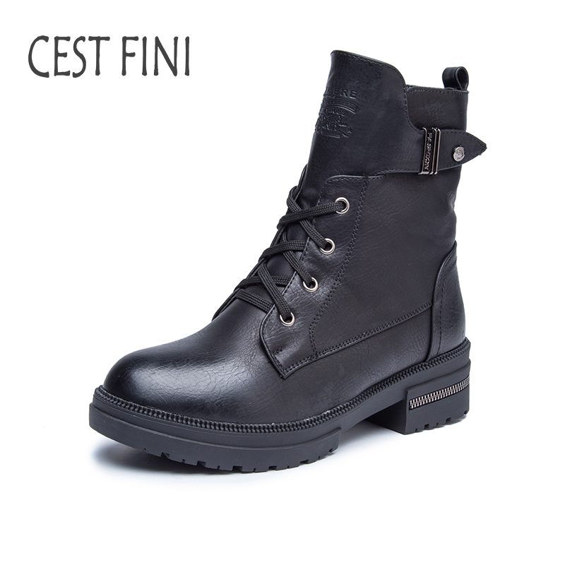 CESTFINI Women Ankle Boots High Quality Winter Rubber Snow Boots PU Leather Women Shoes Size 36-41 #B005