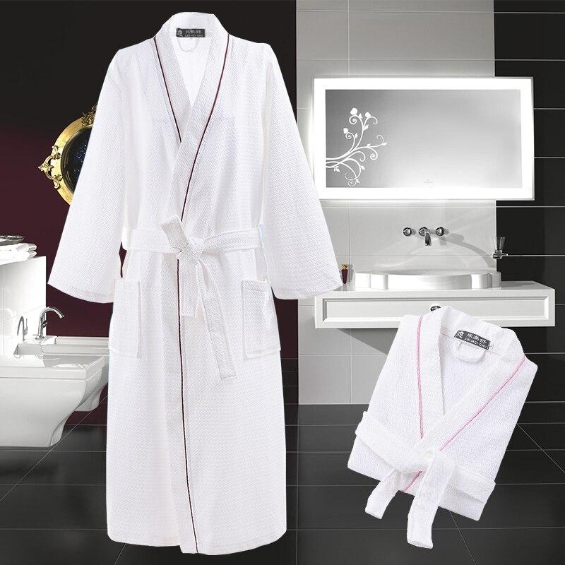 Kimono Bathrobe Women Female Cotton Waffle Robe Solid Color Women Nightgown Long Soft Robe High Quality Night Dress Sleepwear
