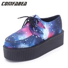 Весна Harajuku vivi Galaxy Blue толстой плоской подошве обувь на платформе женские повседневные женские панк Creeper узор Обувь дамы Обувь для девочек