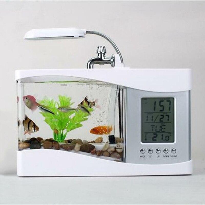 2018 Popular USB Desktop Mini Fish Tank Aquarium Glass LCD Timer Clock LED Lamp Light Black/White Led Aquarium Fish Tank