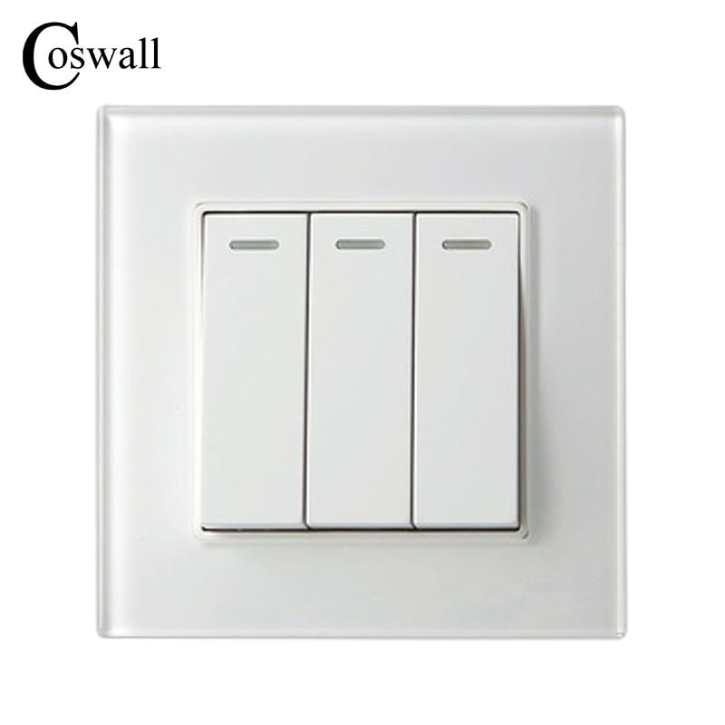 COSWALL 3 Gang 1 Way Luxus Kristall Glasscheibe Lichtschalter Taster Wand Schalter Interruptor 16A