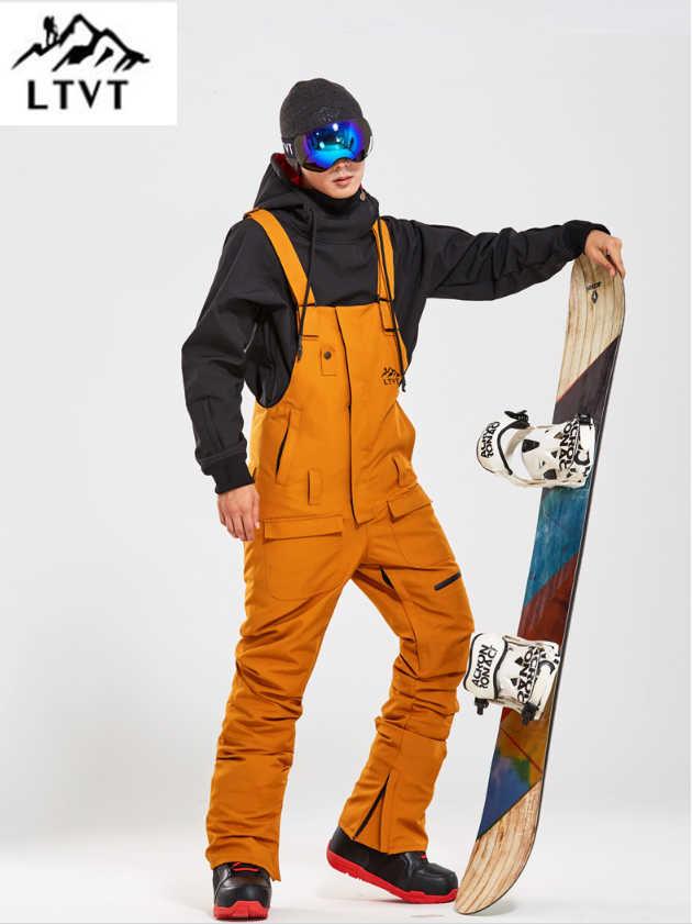 LTVT Bảng Duy Nhất Nữ Đôi Snowboard Yếm Có Dây Đeo Chống Thấm Nước Màu Đen Mùa Đông Trượt Tuyết Trong Nhà Trượt Tuyết Treo Mới Tuyết Phụ Nữ Trượt Tuyết Quần