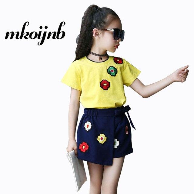 Для девочек летняя одежда комплект цветочный костюм для девочек 2018 Дети 2 шт. спортивный костюм футболка + штаны для подростков детская одежда для Возраст 4, 6, 8, 10, 12 лет