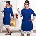 Cocoepp encaje más el tamaño de las mujeres ocasionales de moda dress nuevo 2017 azul hasta la rodilla vestidos tallas grandes mujer de manga larga loose dress