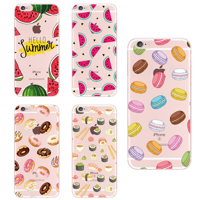 Alimentos fruta café manzana limón plátano Cactus fresa Sushi teléfono funda para apple iPhone5 6 7 Plus 8 8 PLUS XS Max para SAMSUNG