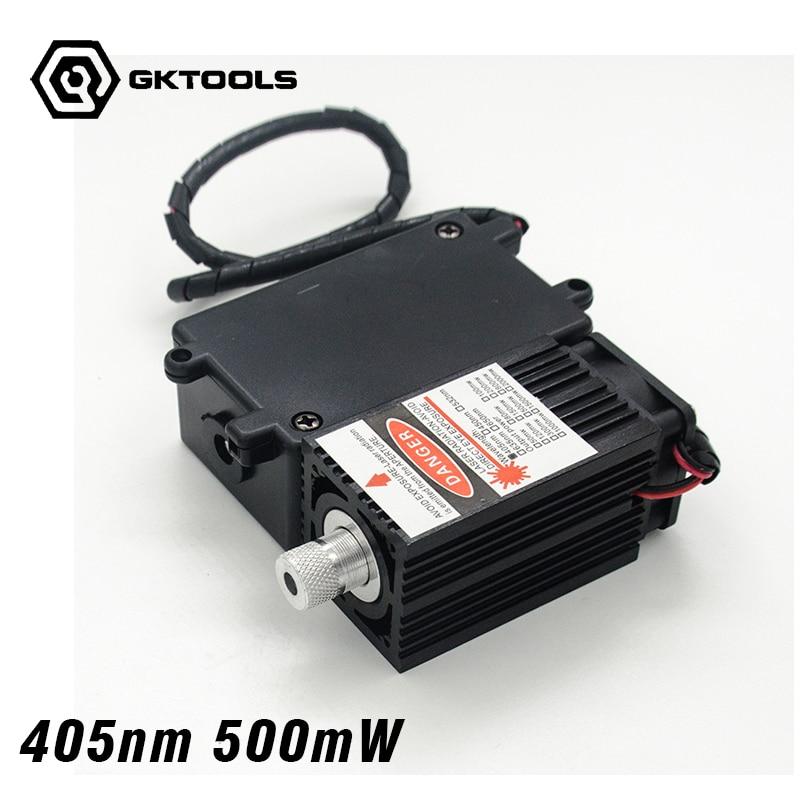 El módulo láser de alta potencia de 405 nm y 500 mW 12V tiene un módulo láser azul TTL, foco ajustable. Accesorios de grabador láser de bricolaje.