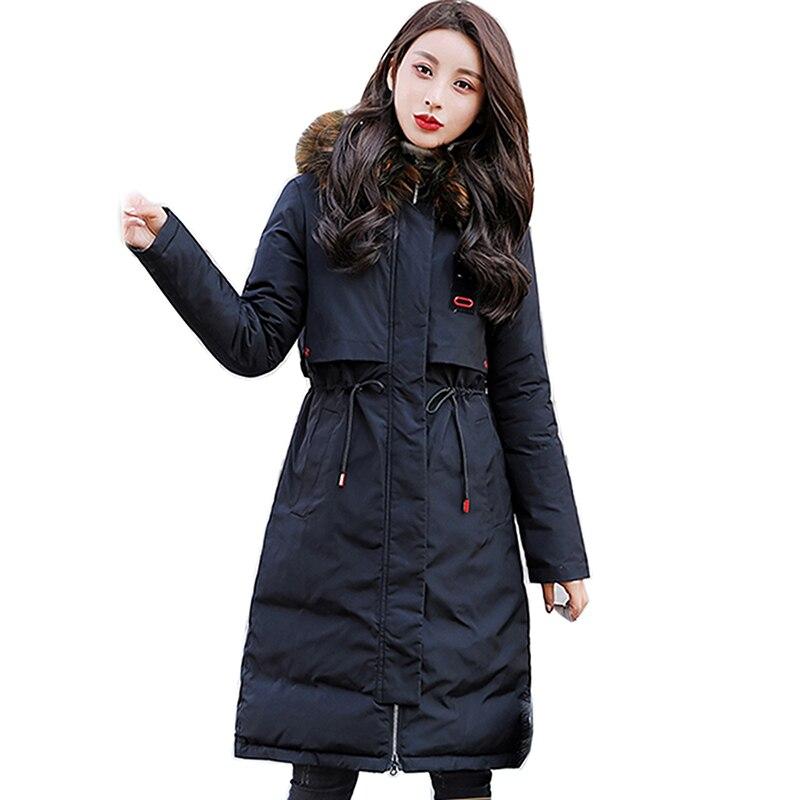 Big Fur collar New 2018 Winter Jacket Women Coats Artificial raccoon hair collar Female   Parka   Thick Cotton Padded Ladies coat