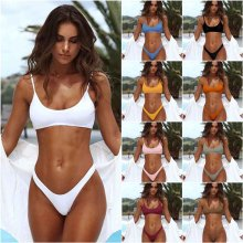 9 Colors 2019 New High Quality Womens Bikini Suit Pure Color Fitness Indoor and Outdoor Swim Beach Sunbating-wear AA175