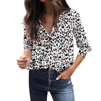 white blouse women Leopard print shirt female Turn down Collar Casual Chiffon vetement femme Camisas Mujer blouses and shirts