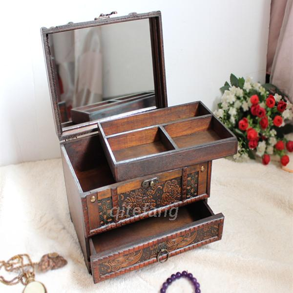 Chinese multilayered wood antique wooden jewelry box with mirror