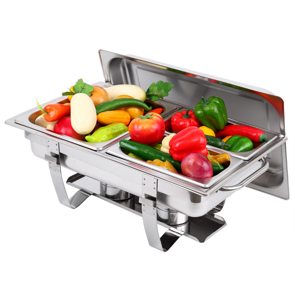 (Ship from EU) 9L Chafing Dish Buffet Restaurant Mechanical Hinge Induction Food Warmer Stainless steel цена и фото