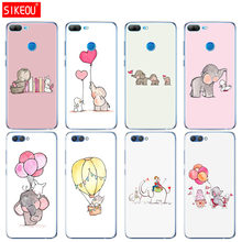 Silicone Cover phone Case for Huawei Honor 10 V10 3c 4C 5c 5x 4A 6A 6C pro 6X 7X 6 7 8 9 LITE Cartoon cute elephant and rabbit(China)