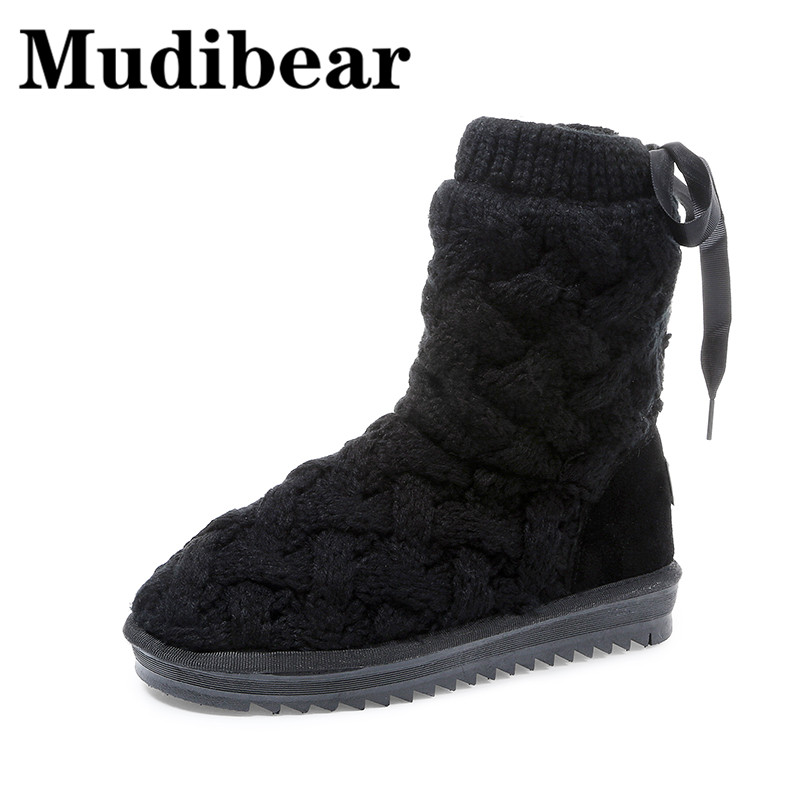 Mudibear Winter Casual Boots Women Ankle Flat Black Wool Boots Snow Ankle Strap Short Plush Soft Warm Female Shoes Ladies Solid