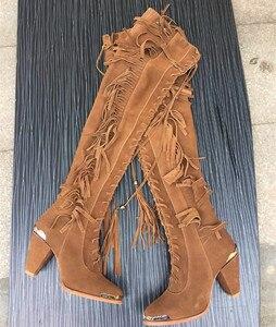 Женские винтажные ковбойские сапоги в стиле бохо, высокие сапоги с заклепками и металлическим каблуком