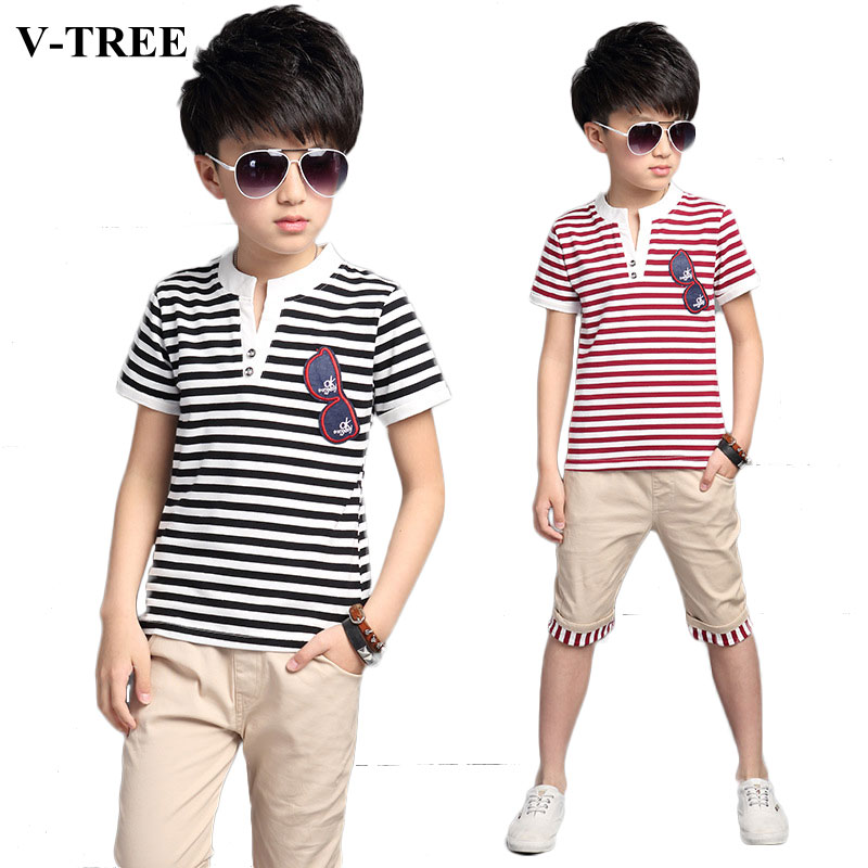 Summer Style Boys Sports Suits Striped T-shirts+pants Clothes Sets For Boy Teenager Tracksuit Children Clothing Sets