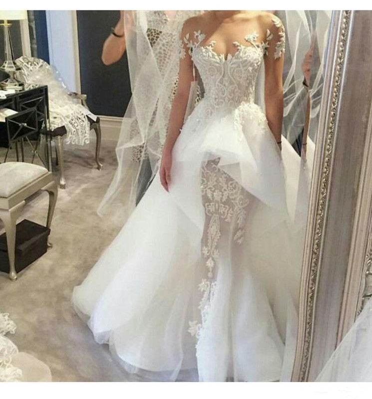 2019 Elegant Lace Wedding Dresses with Sheer Crew Neck Lace Applique Court Train Overskirts Bridal Gowns