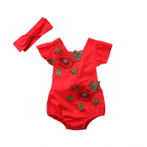 0-24M Newborn Baby Girls Infant Clothes Sleeveless Summer Embroidered Red Colors Jumpsuit Bodysuit Sunsuit Headband