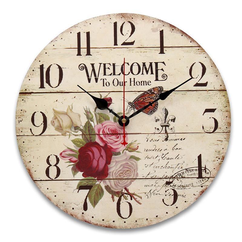 SFDC-Rose flower butterfly English alphabet Round Wood wall clock table