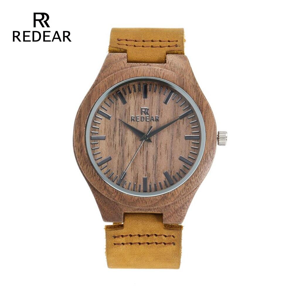 REDEAR Klasyczny projekt marki Zegarki z drewna orzechowego z - Zegarki damskie - Zdjęcie 2