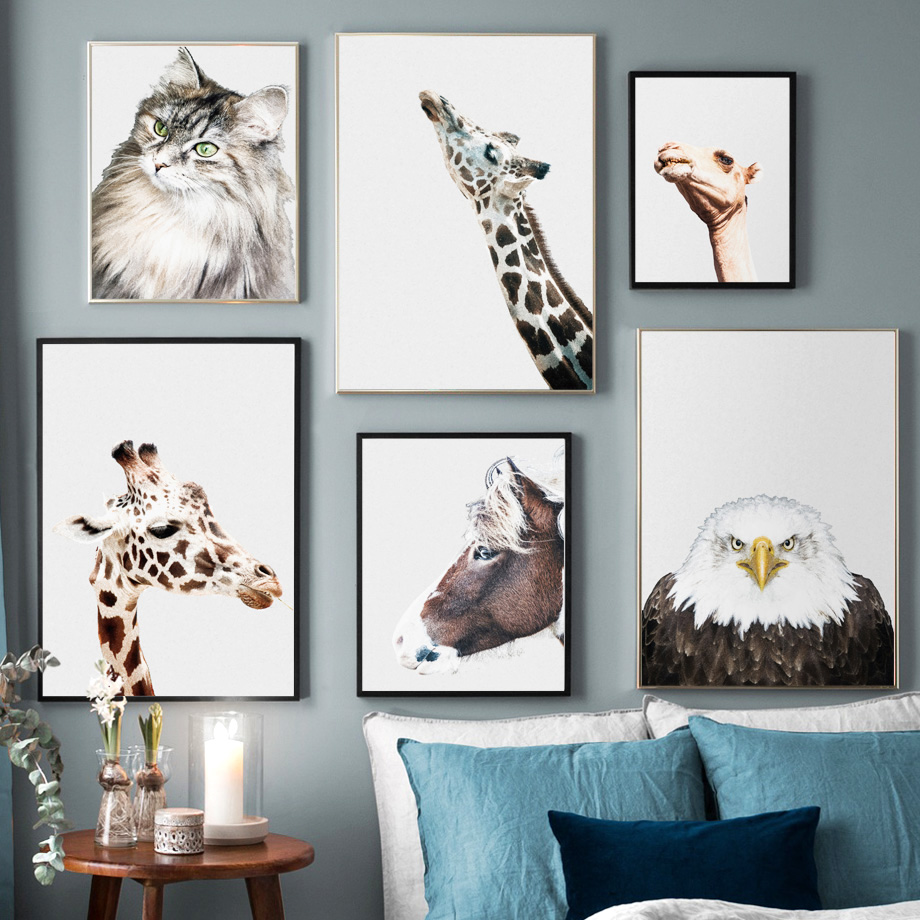 Cat Monkey Camel Giraffe Horse Wall Art Canvas Painting Nordic Poster And Print Animal Pictures For Living Room Home Decor