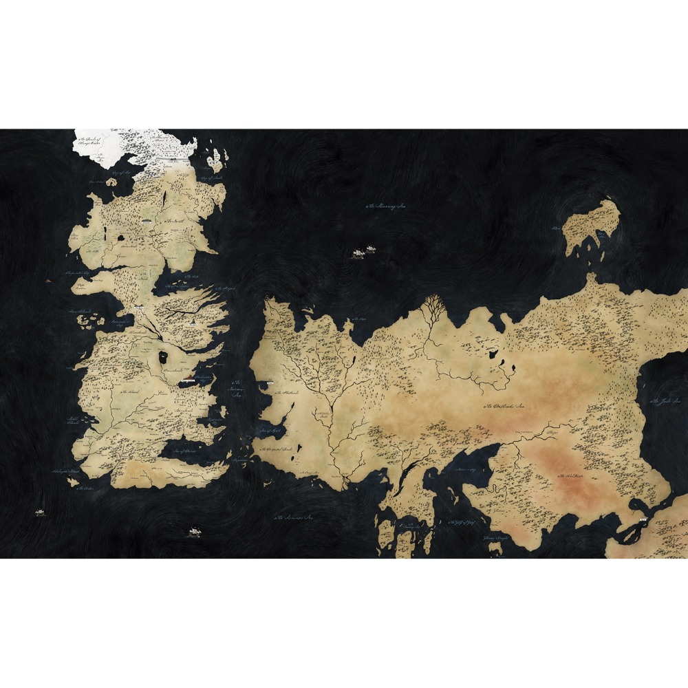 Free shipping High Quality Game of Thrones (A song of Fire and Ice ) Map of the Westeros Land Playmat Board Game Cards playmat