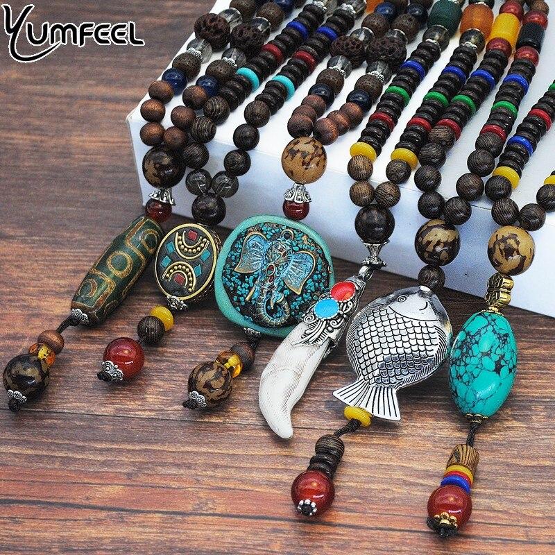 Yumfeel Vintage Ethnic Style Fish Elephant Wood beaded Stone Pendants & Necklaces