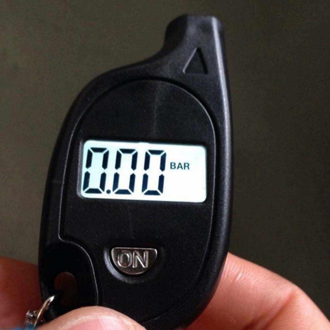 Di Động Màn Hình LCD Kỹ Thuật Số Tự Động Bánh Lốp Xe Móc Khóa Đồng Hồ Đo Áp Lực Khí Đo Kiểm Tra Lốp Bút Thử Cho Xe Ô Tô Xe Máy