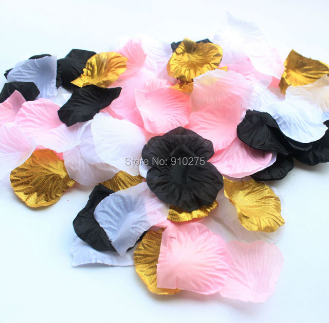 800pcs Mixed Gold Black Pink White Silk Rose Petals Table Confetti