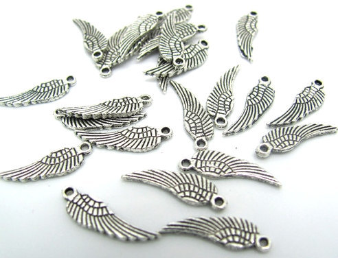 3//5 Tibetan Silver Large ANGEL WINGS FEATHER Charms Pendants Jewelry Findings