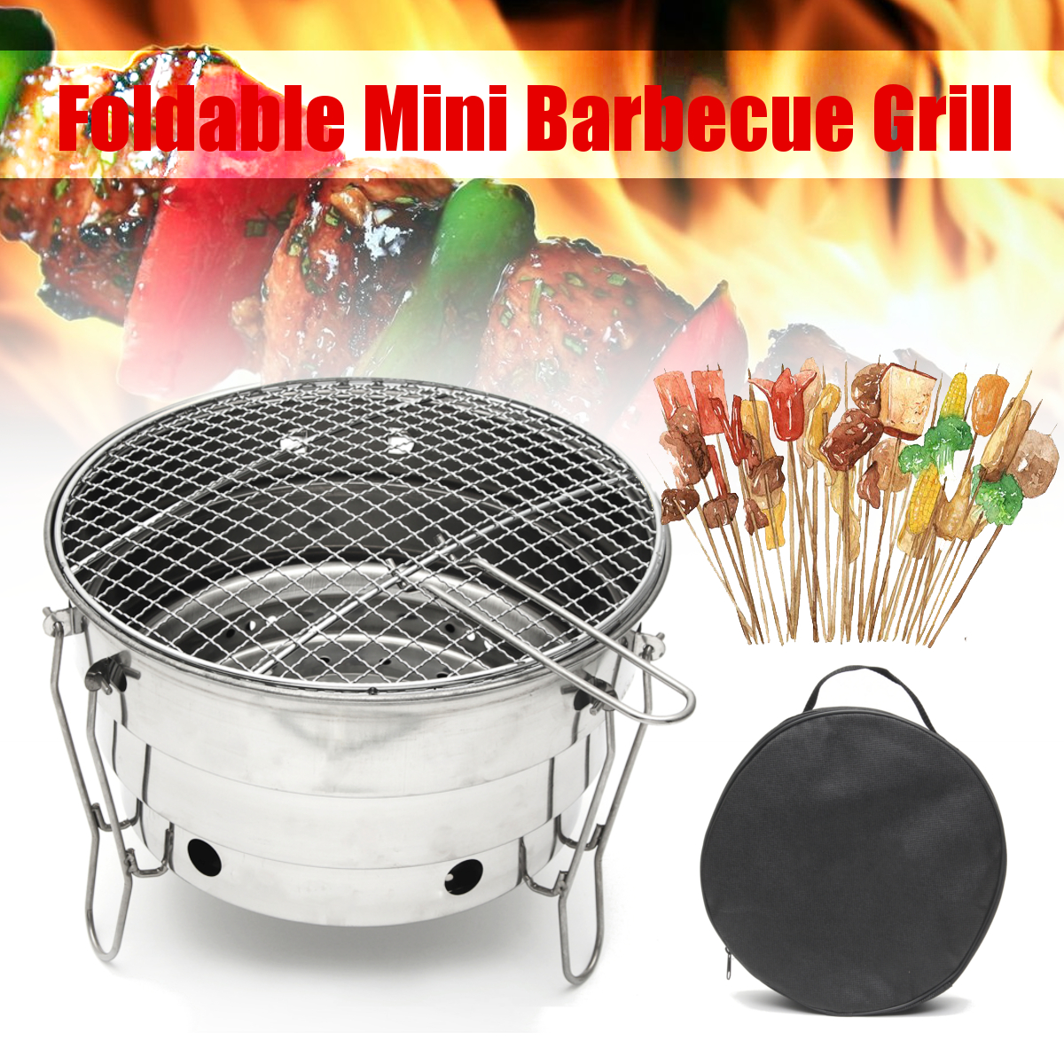 Stainless Steel Barbecue Charcoal BBQ Grill Foldable Portable Cooking Outdoor Camping Burner for Home Patio Stove Family Party