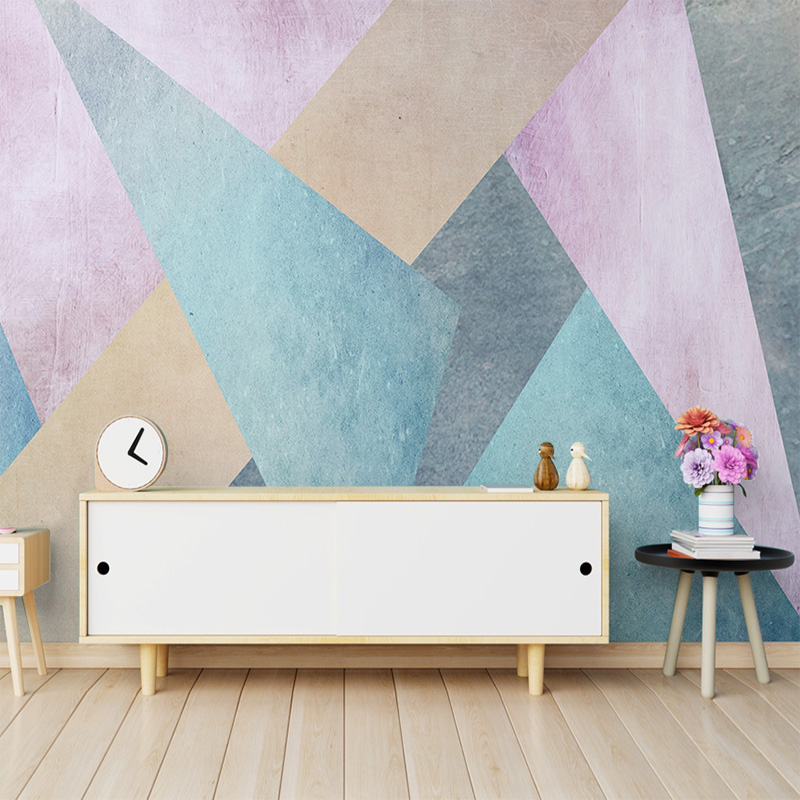 Nordic Abstract Square Geometric Mural Wallpaper