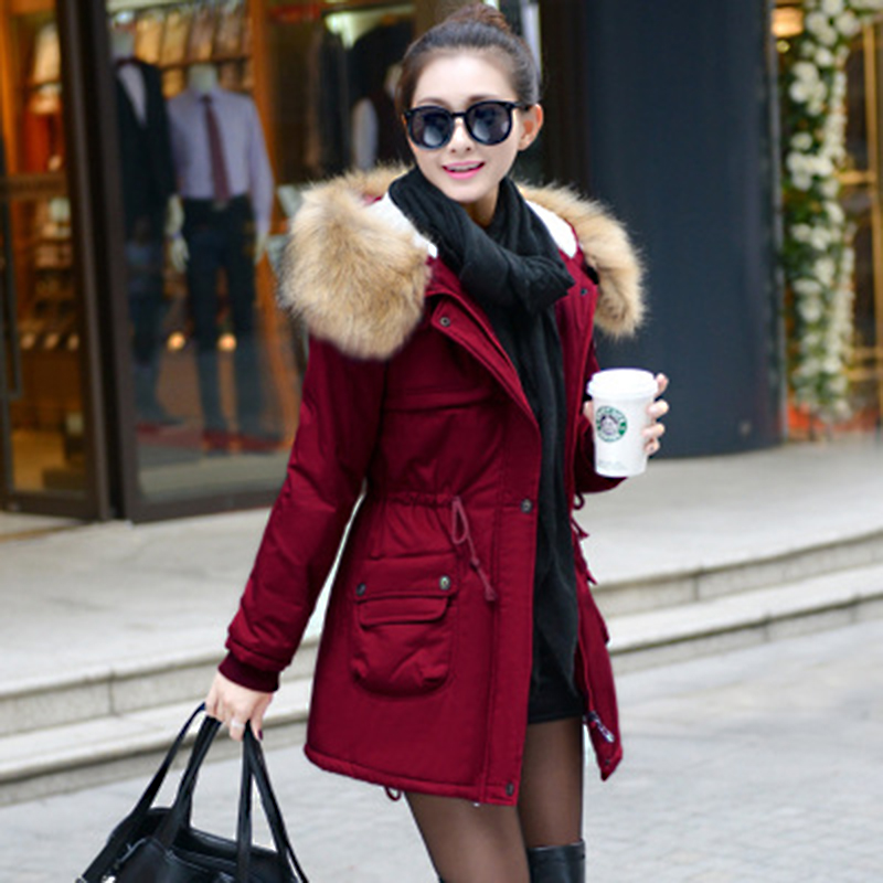 Winter   Parkas   Women Fur Collar Coats Jackets Slim Hooded Coat Ladies Medium-Long Thick Warm Wadded Jacket Outwear Black KDEW541