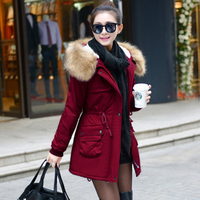 Winter Parkas Women Fur Collar Coats Jackets Slim Hooded Coat Ladies Medium Long Thick Warm Wadded Jacket Outwear Black KDEW541