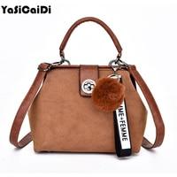 YASICAIDI Retro Handbag Tote Purse Vintage Shoulder Bag Full Ball Women Crossbody Bags Doctor Bag Letter Tassel Shoulder Handbag