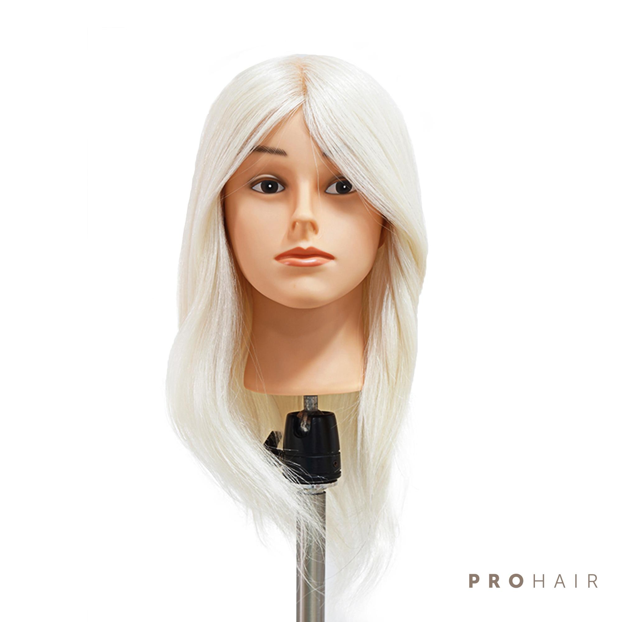 PROHAIR 40CM 16 100 White Goat Hair Training Head Salon Female Mannequin Head Hairdressing Practice Training