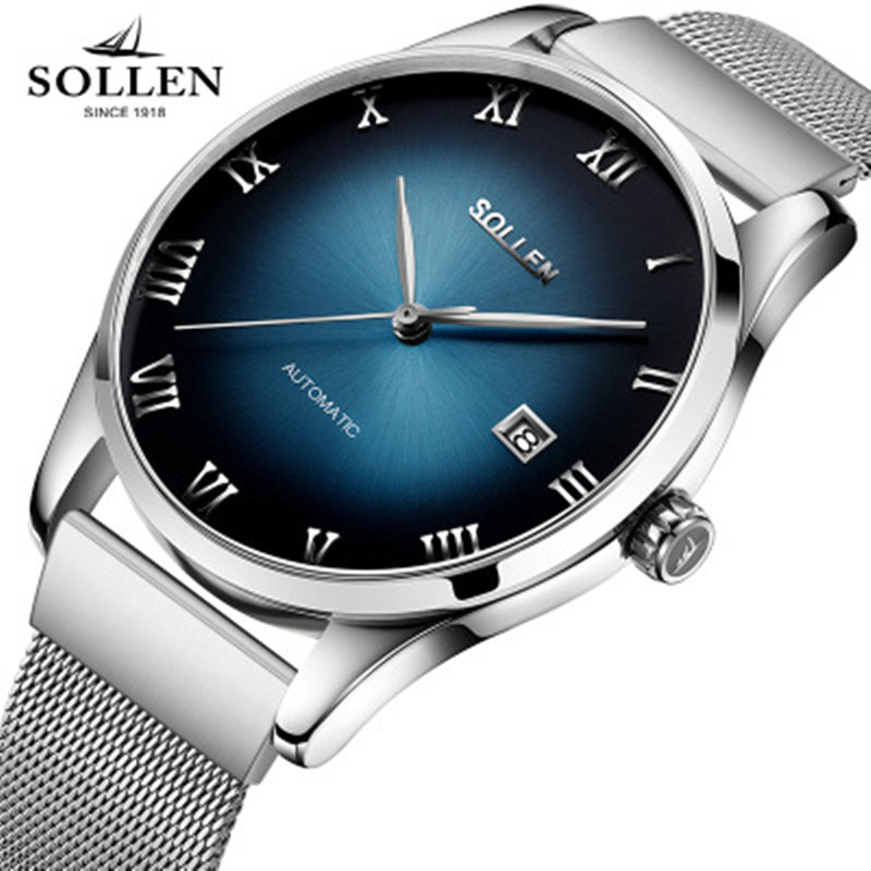 SOLLEN New Top Luxury Watch Men Brand Men's Watches Ultra Thin Stainless Steel Mesh Band automatic mechanical date Wristwatch 2017ailang luxury brand new ultra thin automatic mechanical watches is simple and stylish men watch sapphire watch steel