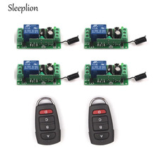 Sleeplion 12V 10A 1CH Relay 2 4-car-key 433MHz/315MHz Wireless RF Remote Control Switch Transmitter+4 Receiver