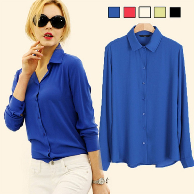 fb989090d354 Women long sleeve fashion style Blouse Shirt Chiffon Tops Elegant Ladies  Formal Office career Blouse 5