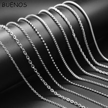 BUENOS Big Promotion! Stainless Steel Silver Color Chain Necklace with Lobster Clasps fit Men Women NO Pendant Chain 24 inch(China)