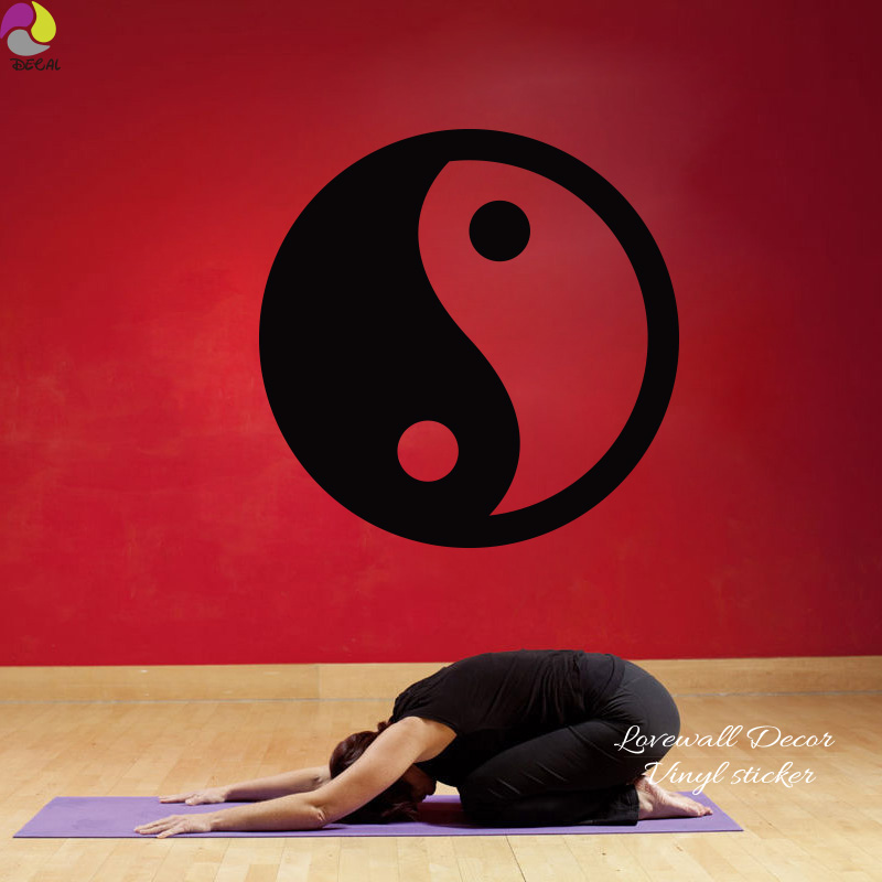 China Yingyang Style Wall Sticker Bedroom Living Room Fenshui Yoga India Polka Dot Wall Decal Vinyl Home Decor Easy Wall Art