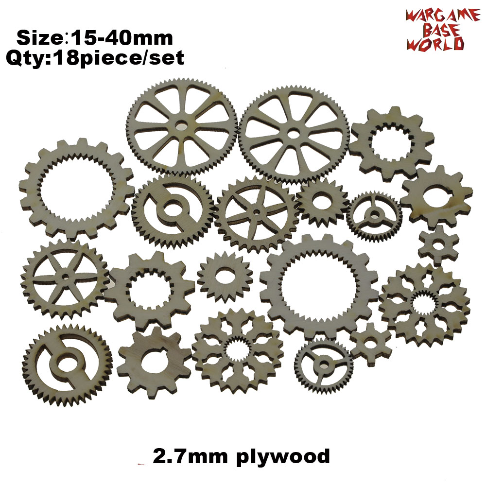 Plywood - Tiny COGS And GEARS Steampunk - Beads Mix