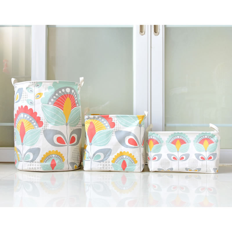 40*50cm Colorful Sunflower Laundry Basket Cotton Line Folding Waterproof Home Dirty Clothing Storage Baskets Toy Storage Bag