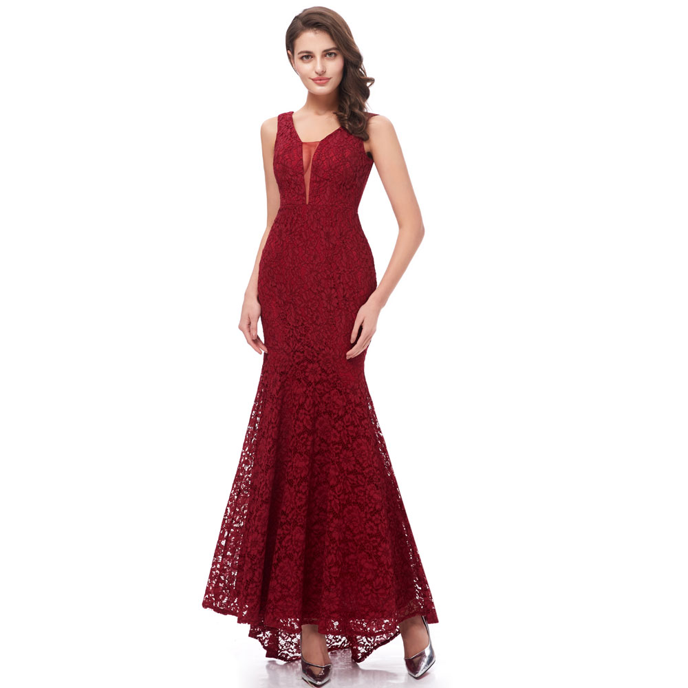 Beauty Emily Wine Red Burgundy Lace Bridesmaid Dresses
