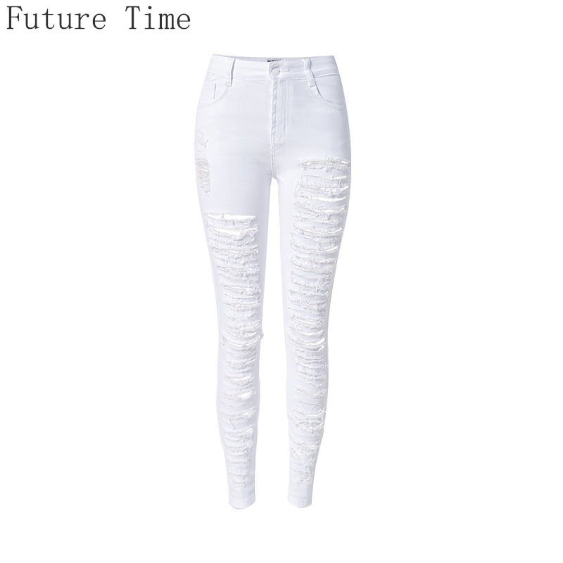 2017 Women Ripped Jeans High Waist Skinny Jeans Stretch Women Pants Sexy White Holes Trousers Casual Slim Pencil Pants Plus Size high waist jeans ripped stretch pants