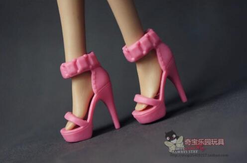 1//6 Barbie Doll Red Classic Pump Black High Heel Shoes