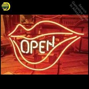 שלטי ניאון עבור שפתיים להרחיב פה בעבודת יד ניאון נורות סימן זכוכית צינור לקשט מלון מסעדה חנות קיר סימנים dropshipping