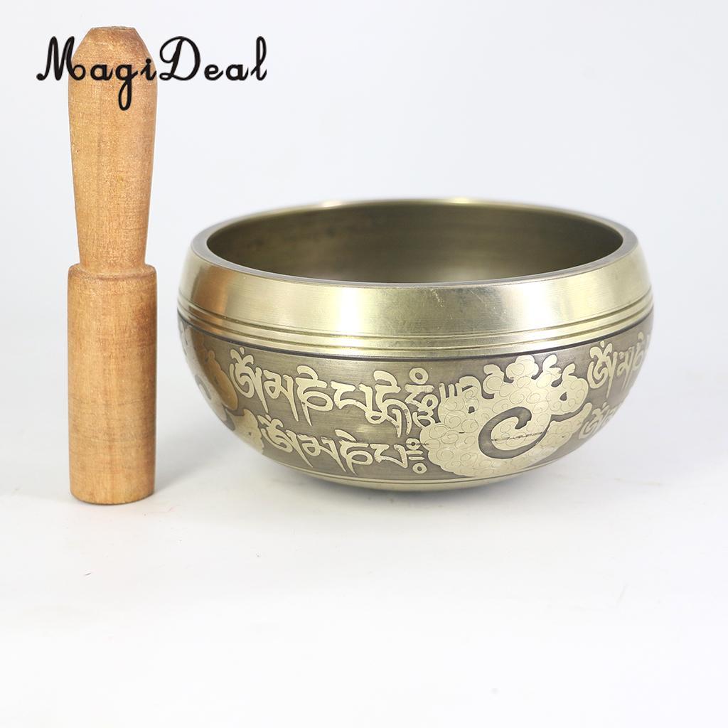 Buddismo tibetano Singing Bowl Meditazione Yoga Relax w/Martello di Legno 12.5 cm #3