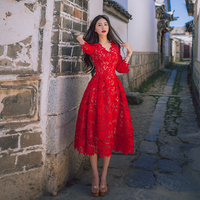 High Quality Women Fashion Dress V neck Three quarter Sleeve Hollow Out Lace Party Dress Sexy Red Midi Dress Mujer Vestidos Robe